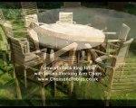 Turnworth Round Ring Table Teak Garden Furniture Set with Lovina Stacking Chairs