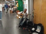 "busker on sunday morning in "" Châtelet-les Halles"" metro station , Paris"