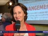Interview de Ségolène Royal avant la réunion de présentation du projet socialiste à Poitiers .