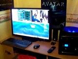 Presentation du PC gamer extreme mini cube transportable 2 sous nvidia isles + chaine téle et afterburner avec everest pour les température