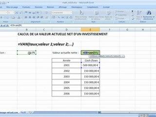 Visionnez les Cours Vidéo de =van Valeur actuelle Nette dans Microsoft Excel
