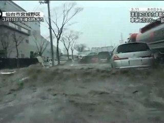 JAPAN TSUNAMI shot by a car driver
