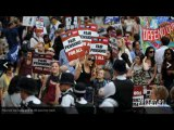 UK - protesters against austerity politic after saving gangsters banksters