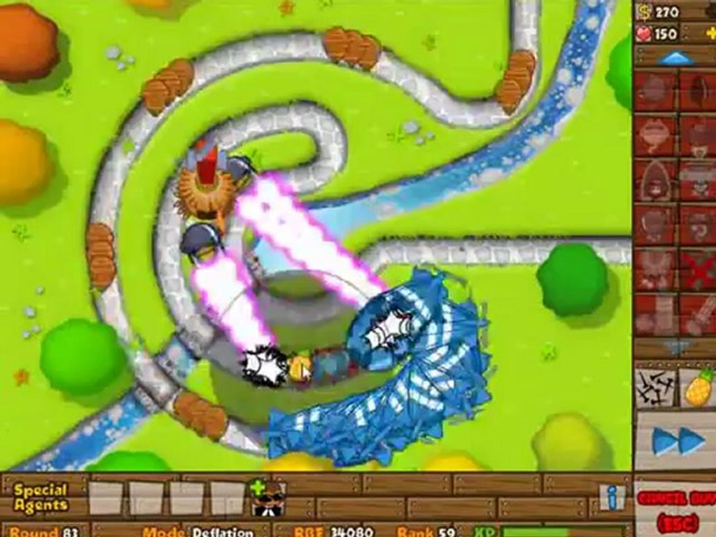 BTD5 Bloons Tower Defense 5 Walkthrough - Deflation Mode - Track 2 - Died  on Round 86