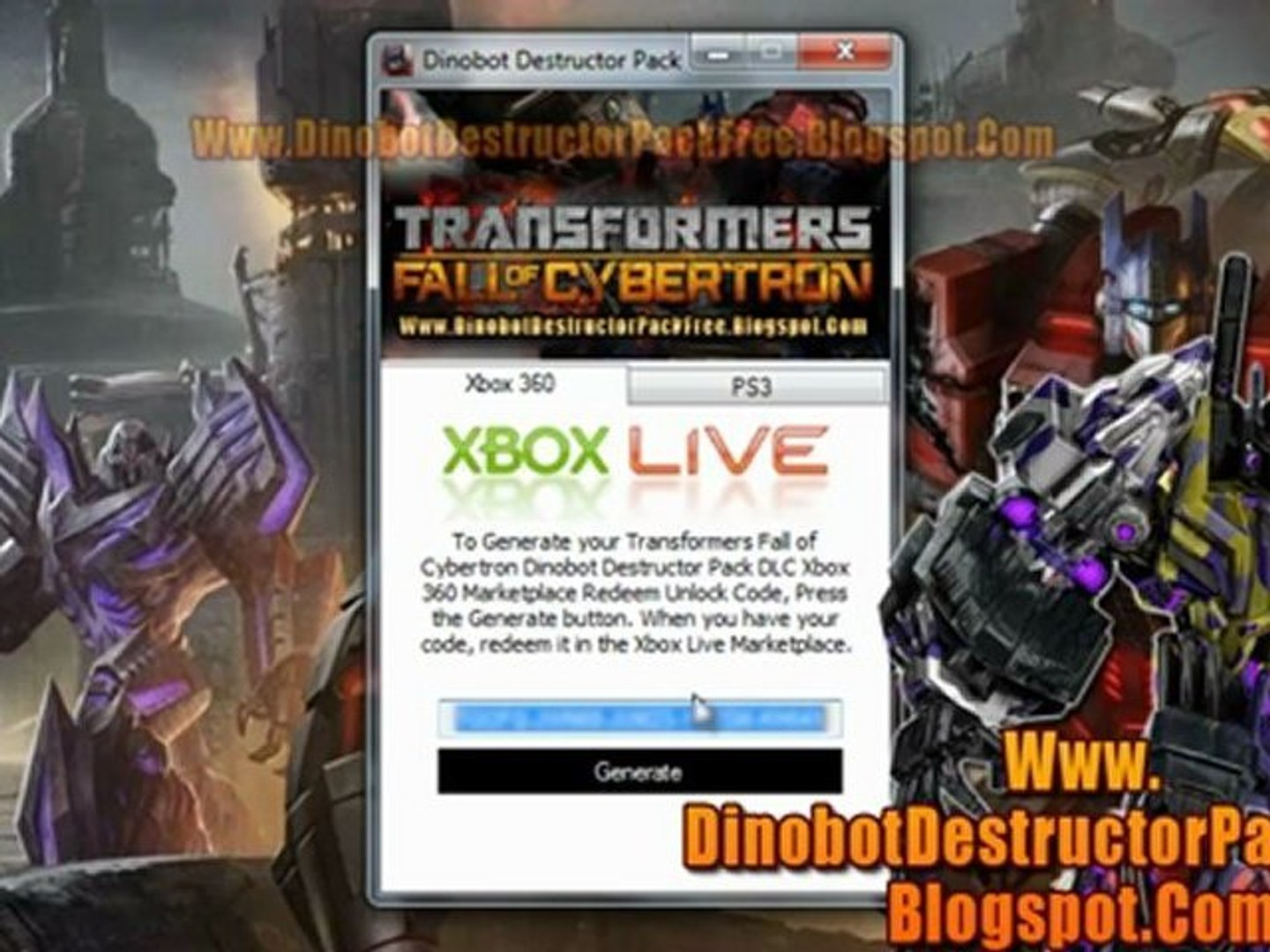 Transformers Fall of Cybertron Dinobot Destructor Pack DLC - Xbox 360 - PS3