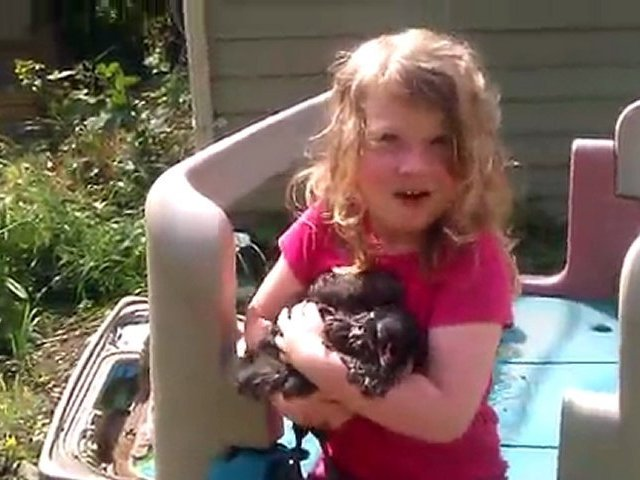 Allie and chickens 2