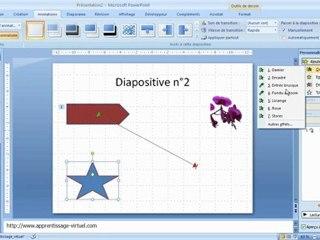 Visionnez les Cours Vidéo de 1 - 3 D�placer Animer les objets dans Microsoft Powerpoint