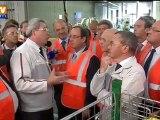 Hollande en campagne dans l'usine PSA à Sochaux