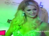 US socialite Paris Hilton poses during a post-party launch of Paris Hilton Handbags in Mumbai.
