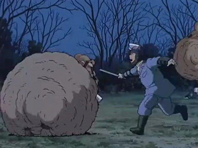 Pom Poko: balls against police
