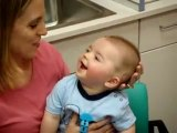 8 Month Old Deaf Baby's Reaction To Cochlear Implant Being Activated