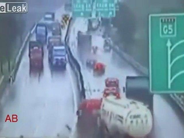 Aquaplaning choc sur autoroute-