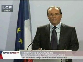 discours Hollande après les primaires