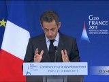Discours de N. Sarkozy sur le thème du G20 développement
