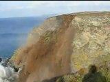 CLIFF CRUMBLES: Caravans left hanging as 40ft of rock erodes