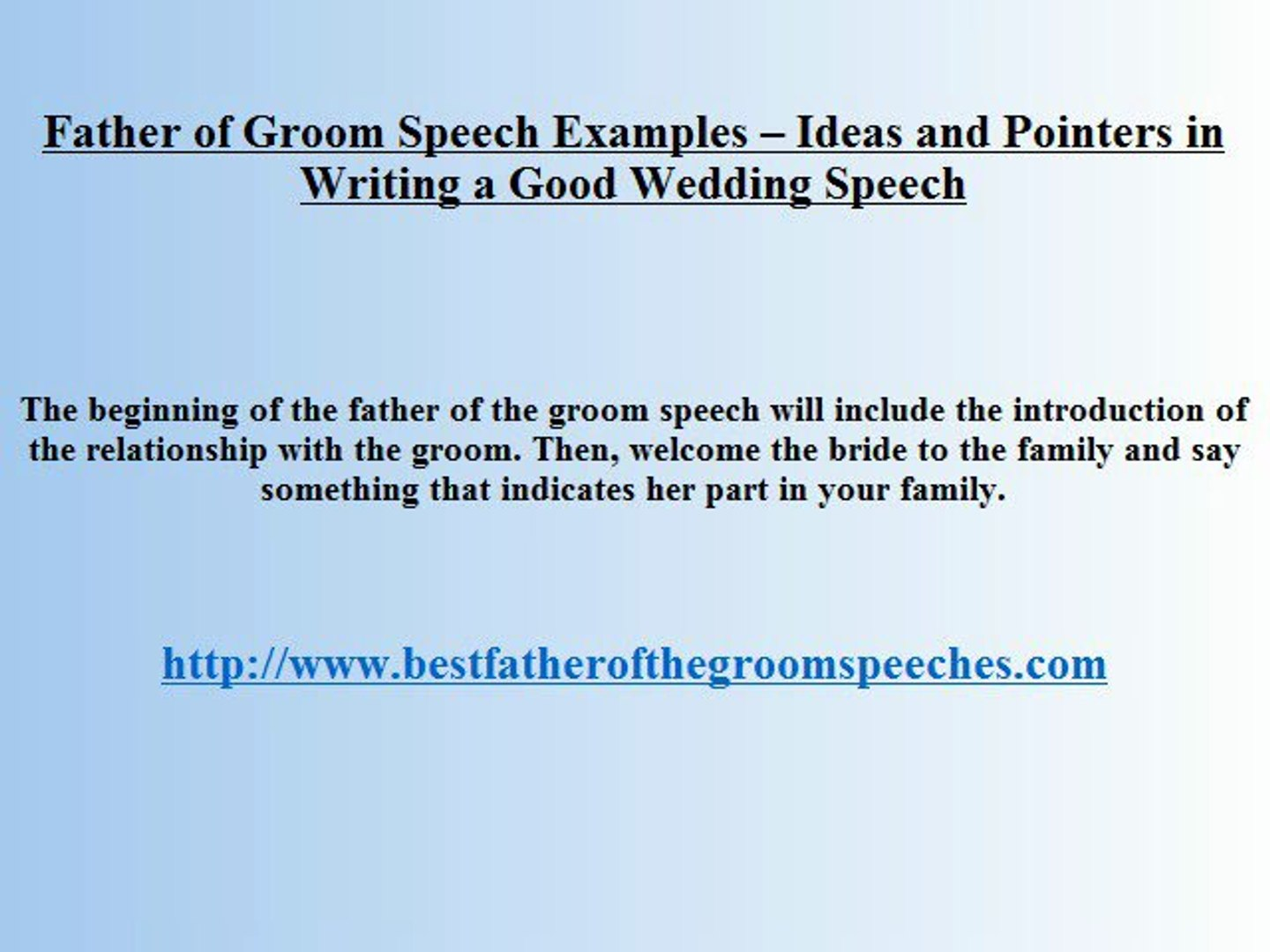 Father-Groom Speech Wedding - What to Say in Honor to Your Son and His Bride