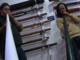 Stu and Sanshi jam on the new Flying Didge travel didgeridoo