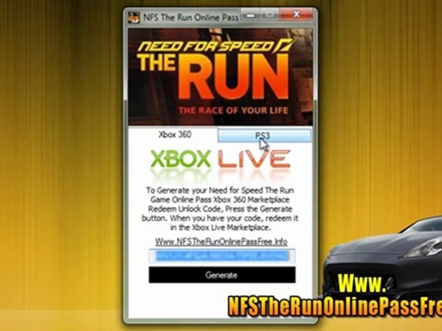 Need For Speed The Run Online Pass Code Unlock Tutorial Xbox 360