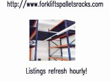 Pallet jacks, pallets, fork lifts, as well as pallet racking