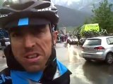 Russell Downing talks after making it to the end of stage 15 of the Giro d'Italia