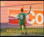 But de Roger Milla lors du match Cameroun-Colombie (Coupe du monde 1990)