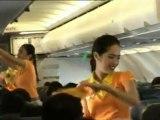 Flight attendant's Christmas dance