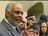 Stephen Lawrence's dad Neville speaks outside the Old Bailey