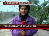 UP polls: After poll panel's order, draping of Mayawati's statues begins
