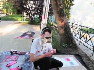 MiMi the Clown - Live painting Musée des Avelines April 2011