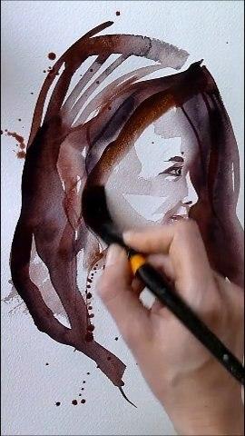 Portrait esquissé en aquarelle