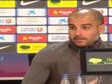 Guardiola cree que el Barcelona es modélico y espera al Valencia como una eliminatoria de Liga de Campeones.