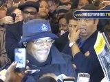 Samuel L. Jackson greets fans at Bernard B. Jacobs Theatre