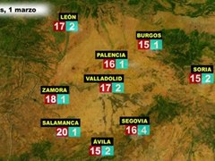 El tiempo en Espana por CCAA el miercoles 29 de febrero y el