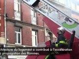 Cambrai: Un immeuble détruit en quelques minutes par les flammes