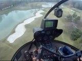 Décollage d'une hélisurface en vol d'instruction en hélicoptère avec l'école Hégé-Service-Hélicoptère basée à Toussus-le-Noble