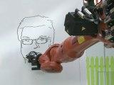 A robot draws people's portraits in CeBIT high-tech fair