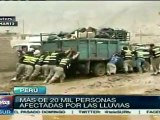 Más de 20 mil personas afectadas por lluvias en Perú