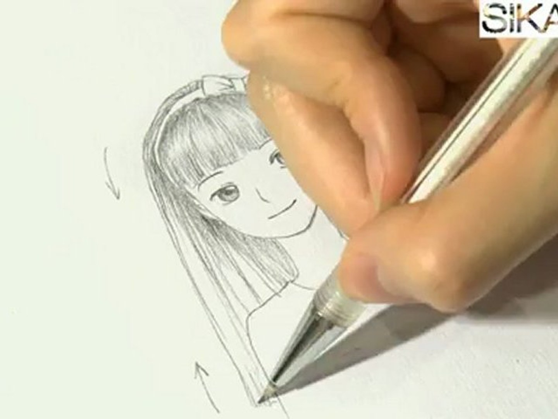 Manga : Comment dessiner une fille aux cheveux longs ? - HD