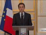 Intervention télévisée de N. Sarkozy à l'Elysée