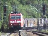 Züge südlich Loreley, SBB Re482, Alpha Trains 185, 151, 145, 152. ICE-T, DBAG 185, 101, 428, 460
