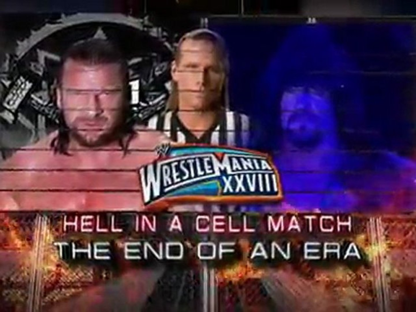 The Undertaker battles Triple H in a Hell in a Cell
