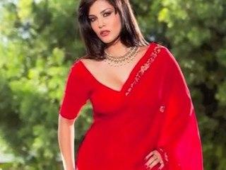 Sunny Leone Hot Red Saree