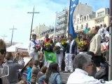 Des trotteurs sur la plage des Sables (Vendée)