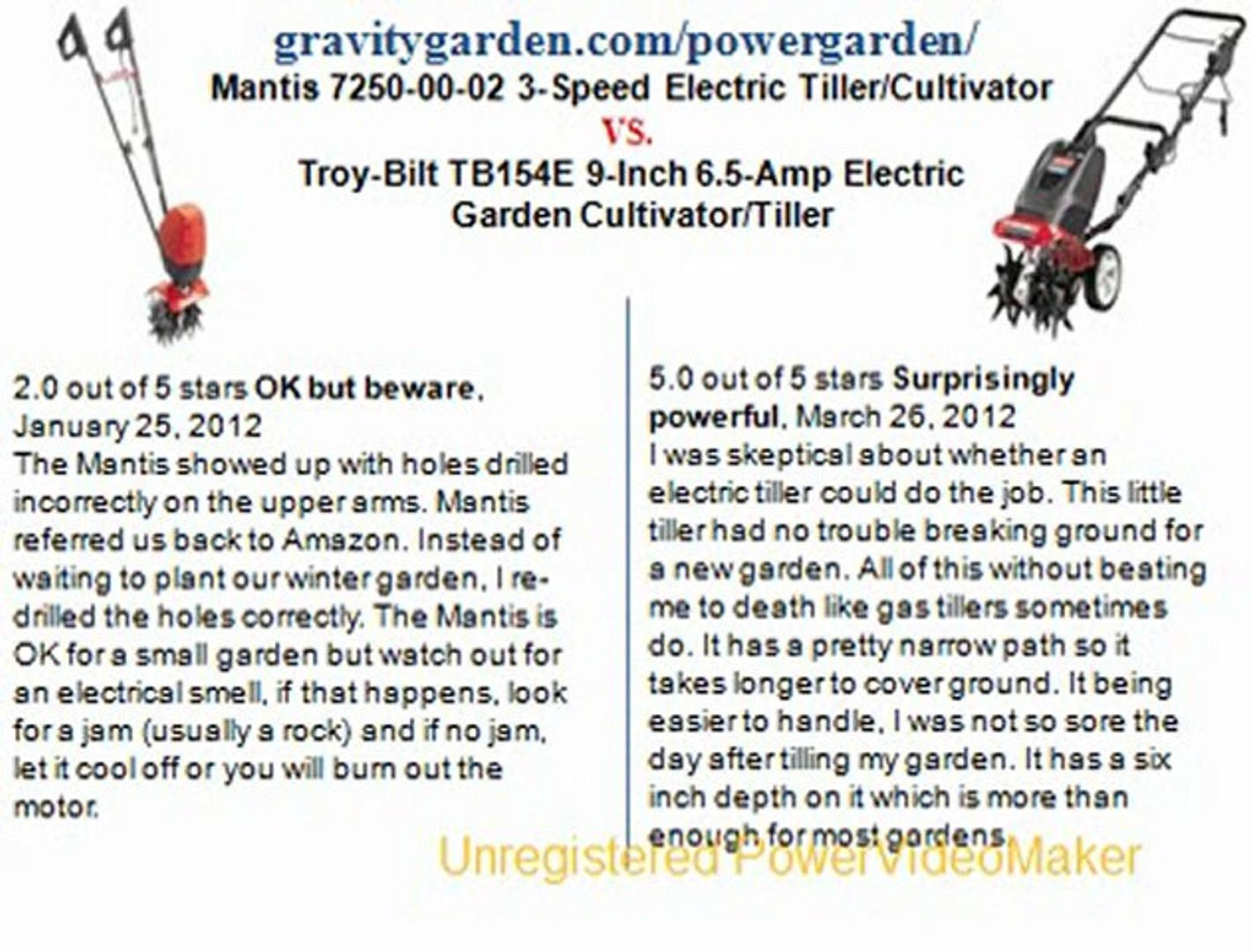 Mantis 7250-00-02 3-Speed Electric Tiller Cultivator (Lawn