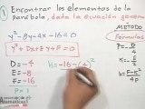 Obtener los elementos de la parábola dada su ecuación general (utilizando fórmulas) - PARTE 1