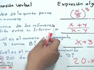 Traducción de lenguaje verbal a lenguaje algebraico - HD