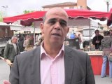 Kader Arif appelle à voter pour François Hollande au marché de Villefranche-de-Lauragais