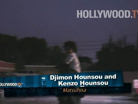 Kimora Lee Simmons, Djimon Hounsou, and family leaving Matsuhisa