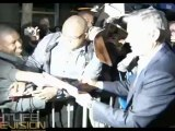 Actor/Director George Clooney speaks & parties with friends at the New York City Ides of March movie premiere