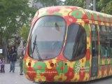 Tramway de Montpellier - Gare Saint Roch - Le trafic des lignes 1 - 2 - 3 & 4 du tram devant la gare SNCF